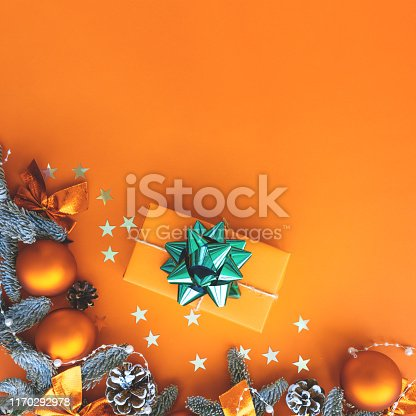 Christmas composition.  Background with gift box and decorations.  Copy space.  Holiday concept.