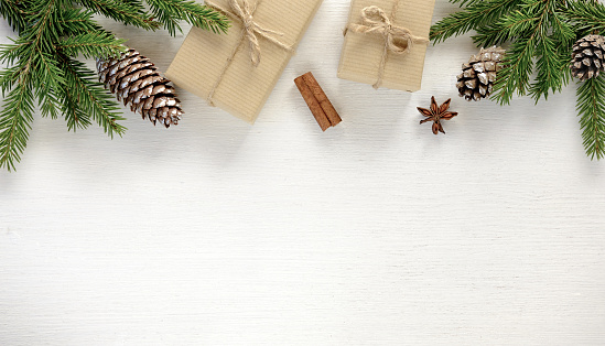 istock Christmas composition. Border made of christmas gifts and decoration 1043476742