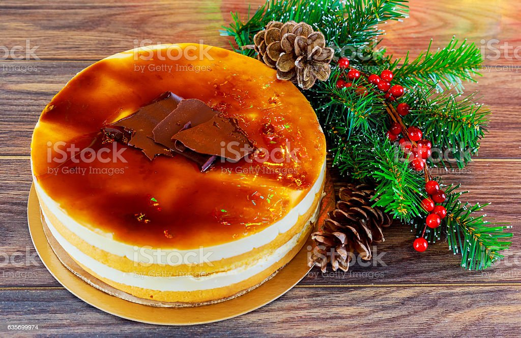 Christmas composition.  cake  New Year decoration royalty-free stock photo