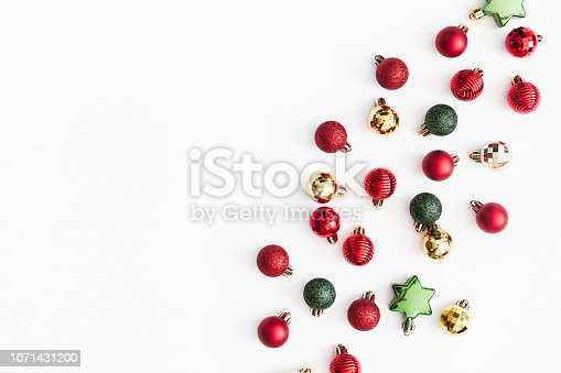 1074095098 istock photo Christmas composition. Christmas colorful decorations on white background. Flat lay, top view, copy space 1071431200