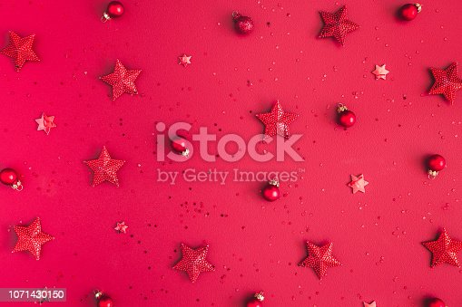 1062680370 istock photo Christmas composition. Christmas red decorations on red background. Flat lay, top view 1071430150