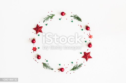 1062679964 istock photo Christmas composition. Christmas wreath on white background. Flat lay, top view, copy space 1050189732