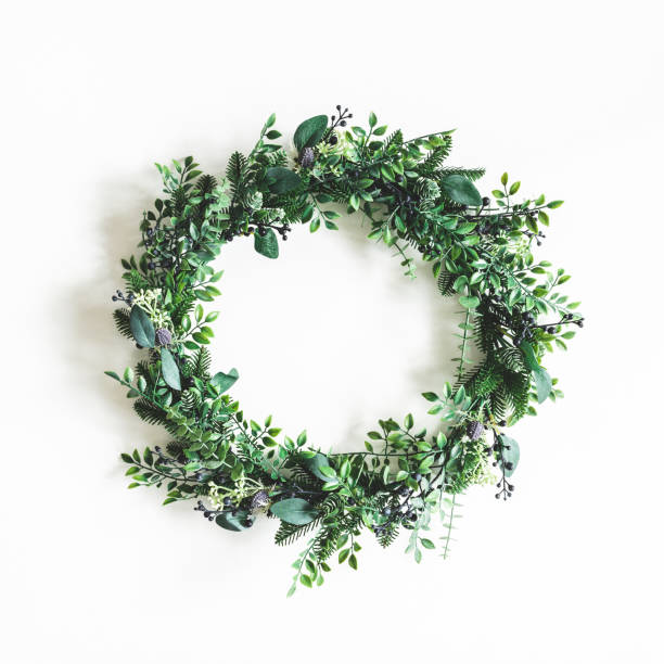 Christmas composition. Christmas wreath on white background. Flat lay, top view stock photo
