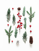 istock Christmas composition. Coniferous tree branches on white background. Christmas, winter, new year concept. Flat lay, top view 1282477011