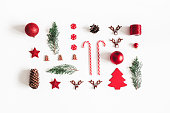 istock Christmas composition. Fir tree branches, decorations on white background. Christmas, winter, new year concept. Flat lay, top view 1064023710