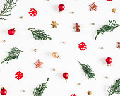 istock Christmas composition. Fir tree branches, decorations on white background. Christmas, winter, new year concept. Flat lay, top view 1285648924