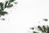 istock Christmas composition. Fir tree branches on white background. Christmas, winter, new year concept. Flat lay, top view, copy space 1185384339