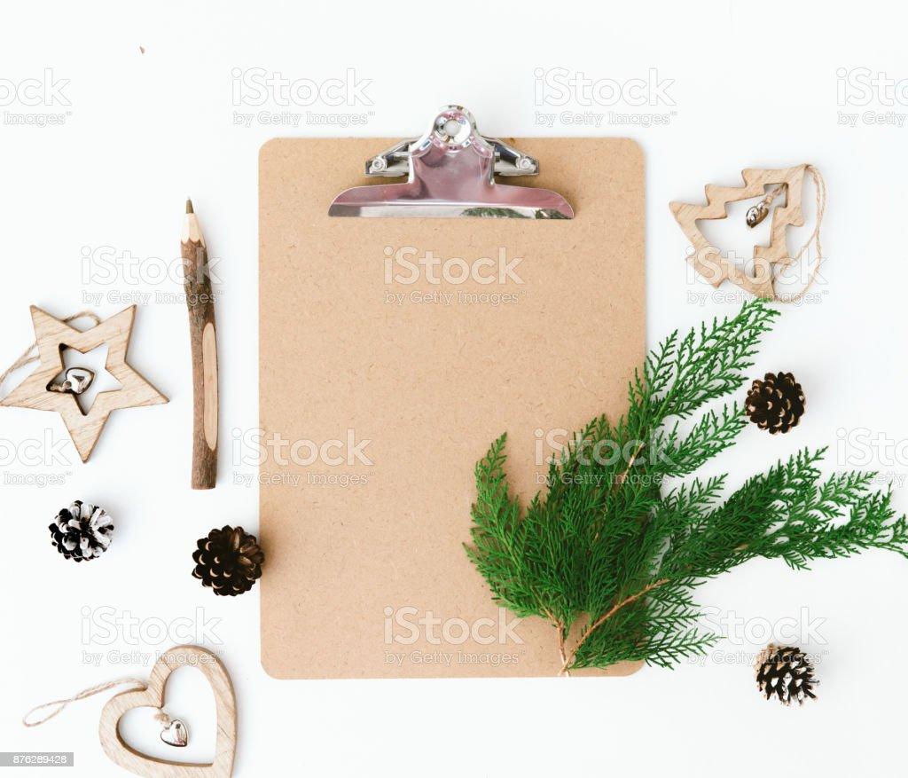Composición De Navidad Plana Se Pone Con Decoraciones Lista