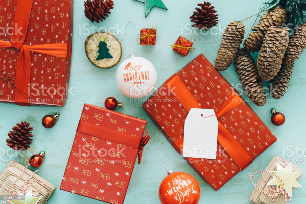 Christmas Gift Packages.Christmas Composition For Christmas Gift Packages Stock