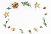 istock Christmas composition. Frame made of christmas decoration, cypre 636138910