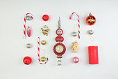 istock Christmas composition. Gift, christmas decoration, pine cones. Flat lay, top view. 1066153100