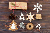 istock Christmas composition. Gift, christmas decoration, snowflake, pine cones. Flat lay top view 881734058