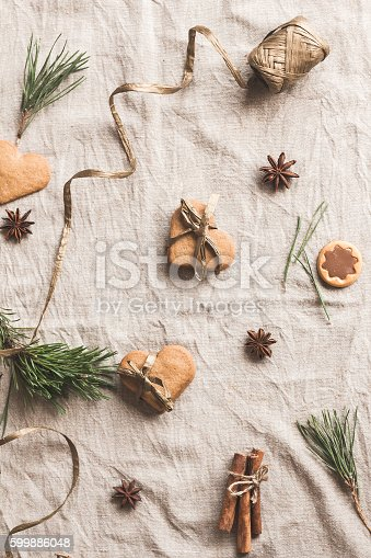 istock Christmas composition. Gift of christmas gingerbread. Flat lay, top view 599886048