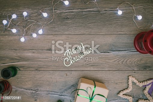 1062679964 istock photo Christmas composition. Gifts, fir tree branches, red decorations on white background. Winter, new year concept. stock photo 1253720181