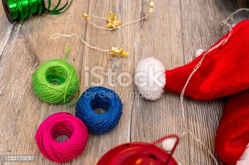 1062679964 istock photo Christmas composition. Gifts, fir tree branches, red decorations on white background. Winter, new year concept. stock photo 1253720297
