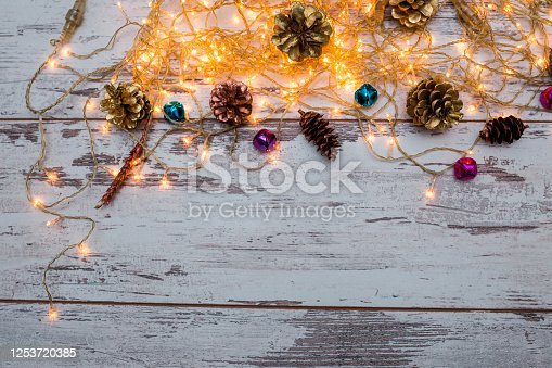 1062679964 istock photo Christmas composition. Gifts, fir tree branches, red decorations on white background. Winter, new year concept. stock photo 1253720385