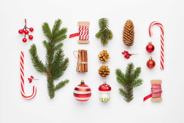 Christmas composition made of christmas decoration on white background. Flat lay, top view. stock photo