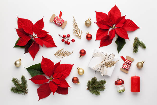 Christmas composition made of christmas decoration on white background. stock photo