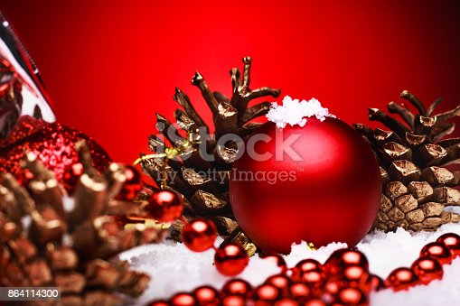Christmas Composition Of Christmas Tree Toys On A Red Background Stock Photo & More Pictures of Ball