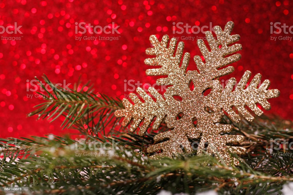 Christmas composition of Christmas tree toys on a red background royalty-free stock photo