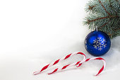istock Christmas composition of fir branches and Christmas balls of viburnum on a white background isolated. 1066153162