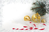istock Christmas composition of fir branches and Christmas balls of viburnum on a white background isolated. 1066153180