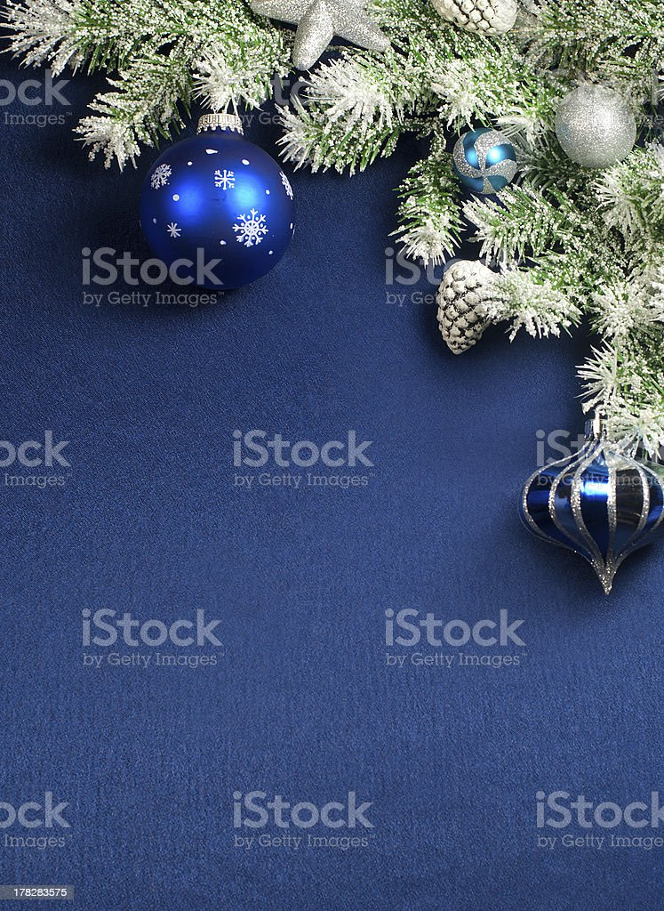 Christmas composition on blue satin stock photo