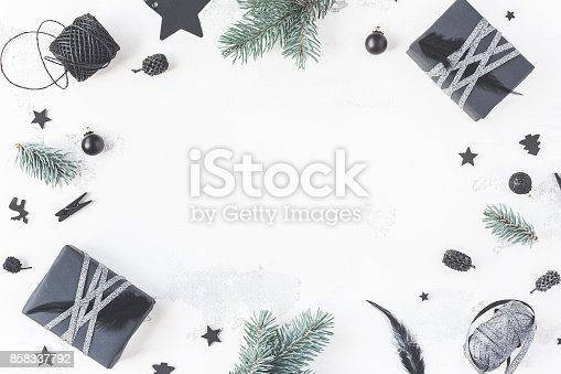istock Christmas composition on white background. Flat lay, top view 858337792