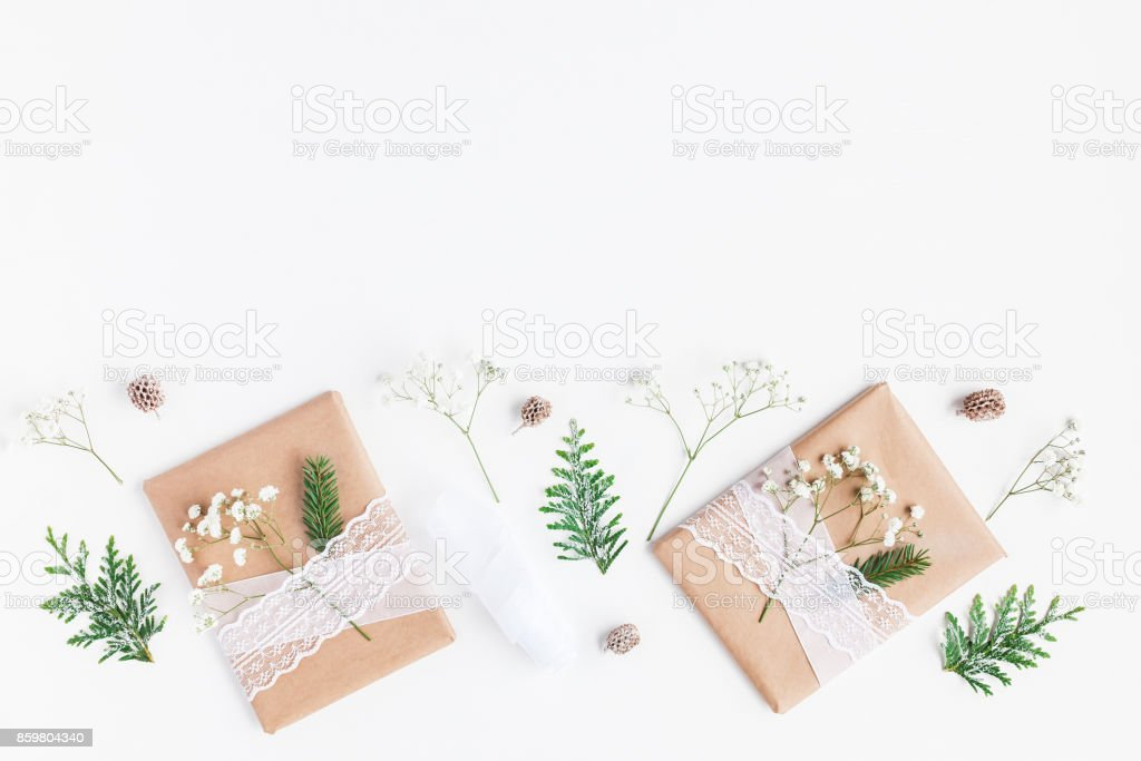 Christmas composition. Christmas gifts, pine cones, gypsophila...