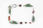 istock Christmas composition on white background. Flat lay, top view 865515702