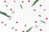 istock Christmas composition on white background. Flat lay, top view 873339230