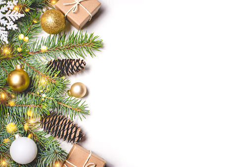 istock Christmas composition on white background. 1167011520