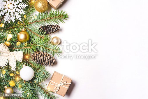 istock Christmas composition on white background. 1167011531