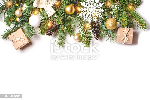 Christmas composition on white background with copy space for your text.
