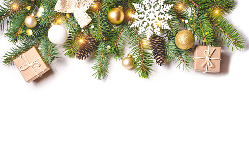 istock Christmas composition on white background. 1167011534