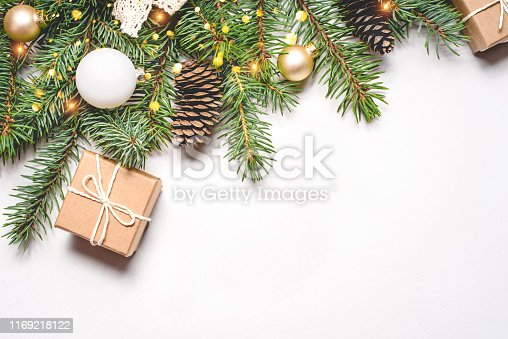 istock Christmas composition on white background. 1169218122