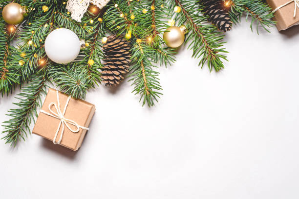 Christmas composition on white background. Christmas composition on white background with copy space for your text. table top view stock pictures, royalty-free photos & images