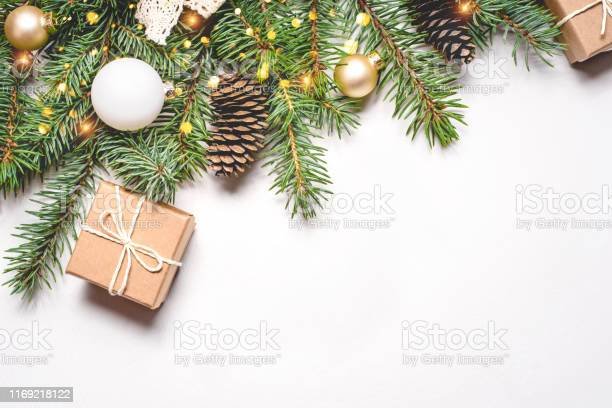 Photo of Christmas composition on white background.