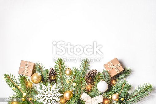 istock Christmas composition on white background. 1169218124
