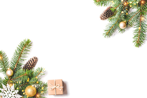 istock Christmas composition on white background. 1169218147
