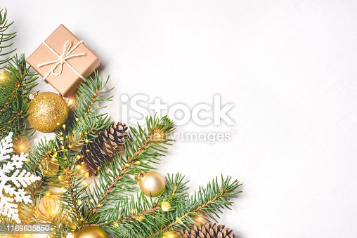 istock Christmas composition on white background. 1169635850