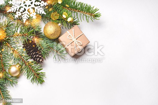 istock Christmas composition on white background. 1169635851