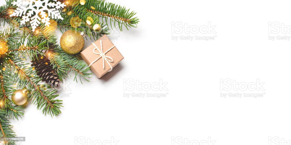 2021 Christmas White Background Christmas Composition On White Background Stock Photo Download Image Now Istock