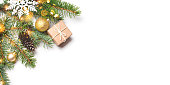 istock Christmas composition on white background. 1272593326