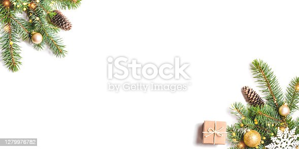 istock Christmas composition on white background. 1279976782
