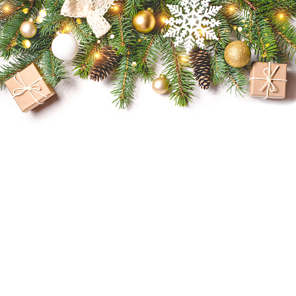 Christmas composition on white background.