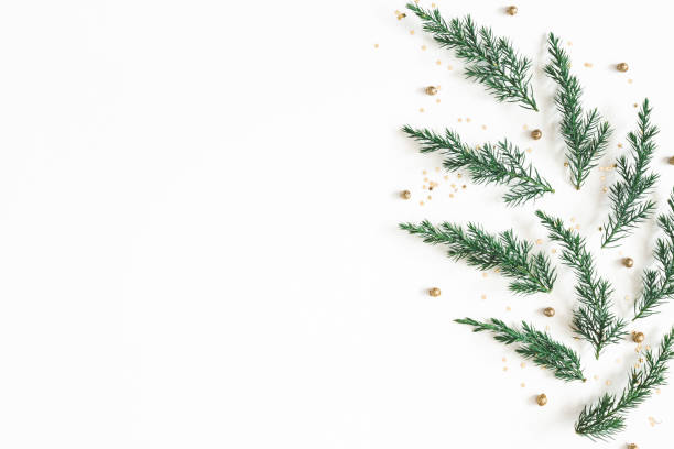 Christmas composition. Pattern made of fir tree branches, golden decorations on white background. Christmas, winter, new year concept. Flat lay, top view, copy space stock photo