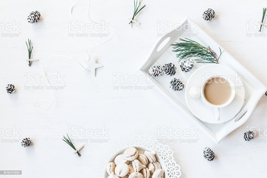 Christmas composition. Winter breakfast. Flat lay stock photo