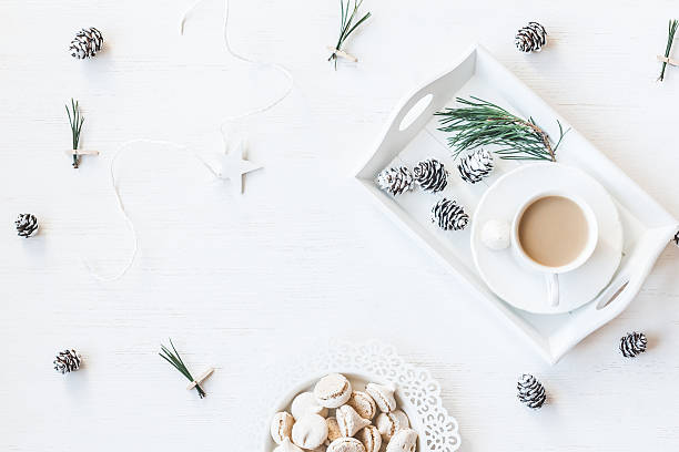 Christmas composition. Winter breakfast. Flat lay stock photo