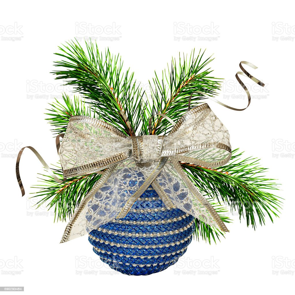 Christmas composition with ball and pine twigs Стоковые фото Стоковая фотография